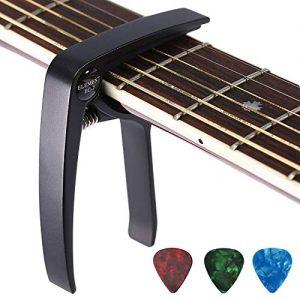 Asmuse-Capodastre-Trigger-avec-3-Mediators-Unique-Utilisation--Une-Main-Changement-Rapide-en-Alliage-daluminium-Noir-Capos-pour-Ukull-Classique-Guitare-Acoustique-Electrique-Basse-et-plus-0