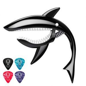 Donner-Capodastre-Guitare-Classique-Folk-Electrique-Ukulele-Capo-Shark-en-Zinc-Alliage-avec-Mediators-Noir-0