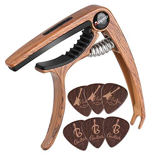 Anpro-capodastre-GuitareCapo-de-Guitare-en-Grain-de-Bois-avec-6-Mediators-Unique-pour-Guitare-Acoustique-et-lectrique-ukull-Mandoline-et-Banjo-0